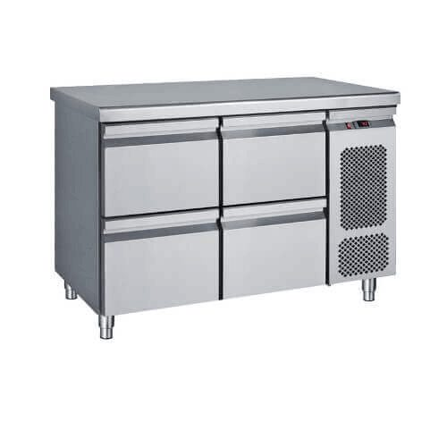 Masa frigorifica compacta, rece, refrigerare cu 4 sertare, inox