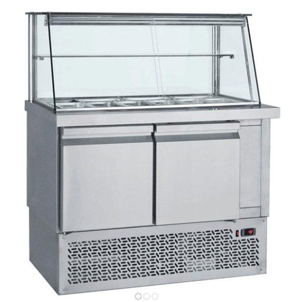 Vitrina cu bazin si depozit frigorific pentru salata, autoservire